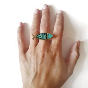 Big Statement Brass Turquoise Fish Ring